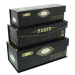 Pretty Storage Boxes - Set of 3 Tri-Coastal Paris Nights Decorative Storage Boxes = Decorative Boxes for Storing Documents and Acessories